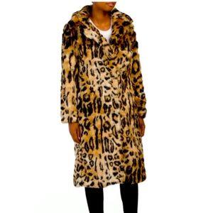 Rachel Zoe Ocelot Long Faux Fur leopard jacket M